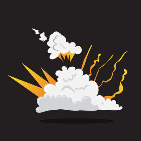 Explosive boom effect. Smoke from the bomb