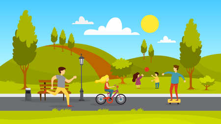 People in the public park. Jogging and playing in the city park. Summer activity. Vector illustration in cartoon style