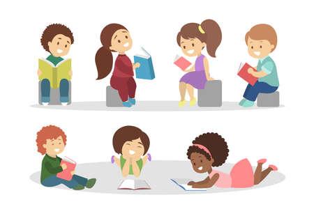 Children read book set. Collection of kid 版權商用圖片 - 117144238