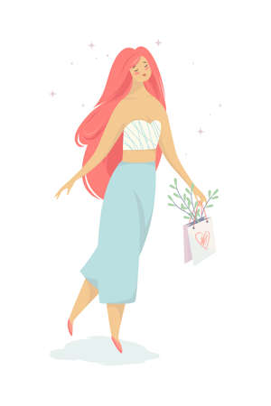 Woman walk with a shopping bag from the store. Girl in fashion clothes. Isolated vector illustration in cartoon style