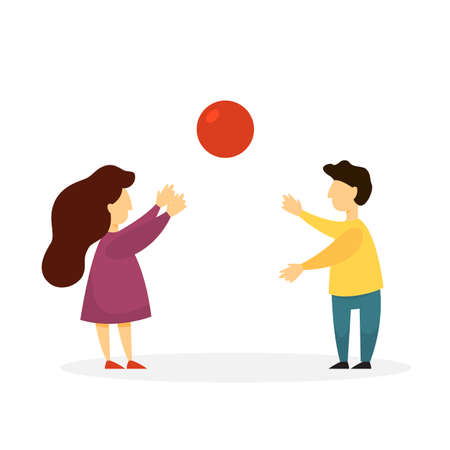 Children playing with a red ball. Girl and boy have fun in the park. Summer activity. Kids play together. Vector illustration in cartoon style
