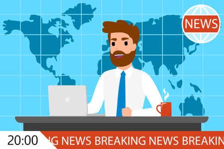 Breaking news man on TV. Male newscaster on screen. Television program. Flat vector illustration Illustration