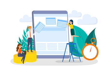 People building website concept. Create web page on the computer. Design, construction and development. Programming process. Flat vector illustration
