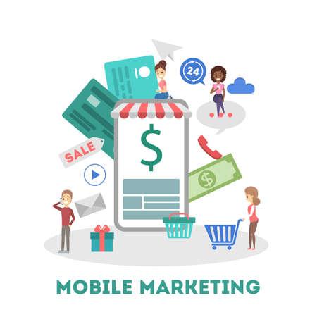 Banner de web de marketing móvil. Compras online y PPC