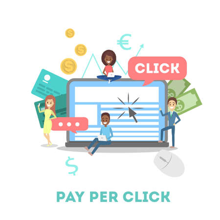 Publicidad de pago por clic de PPC en Internet Ilustración de vector