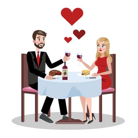 Couple romantique au restaurant à une date.