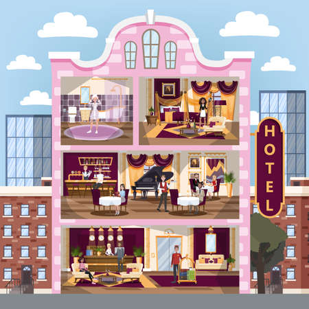 Hotel building interior. Restaurant and reception, room and bath. People with baggage on vacation. Dinner in cafe. Hotel staff. Vector illustration in cartoon style