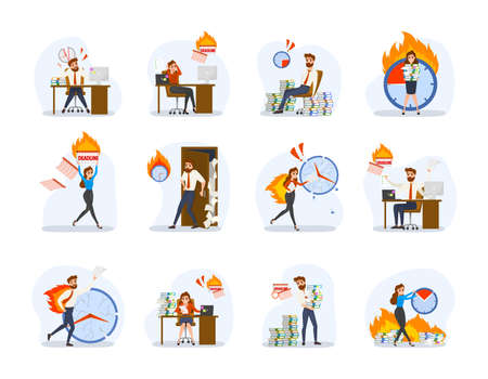 Deadline concept set. Idea of many work and few time. Employee in a hurry. Panic and stress in office. Business problems. Flat vector illustration Reklamní fotografie - 117036298