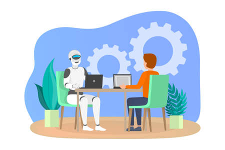 Man and robot working together in office. Idea of artificial intelligence and machine learning. Flat vector illustration Иллюстрация