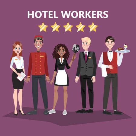 Personnel d'hôtel. Les gens en uniforme. Réceptionniste et serveur, portier et femme de chambre. Illustration vectorielle en style cartoon