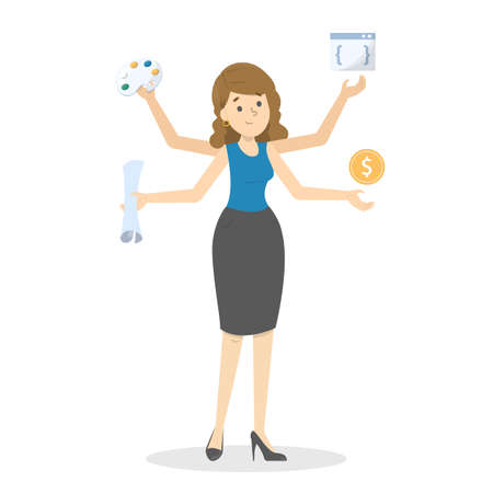 Talented woman. Multitasking person with many hands. Busy businesswoman. Person with many skills. Competent guy. Vector illustration in cartoon style