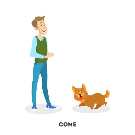 Man training his pet dog. Come command Ilustrace