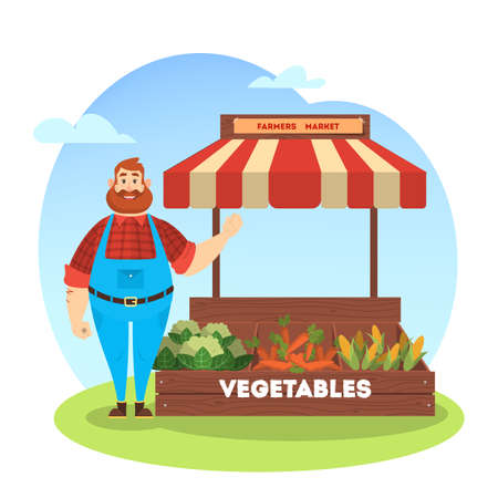 Happy farmer sell fresh organic harvest from farm. Vegetable market concept. Grocery store. Man stand on the street at the tent with vegetables. Isolated vector cartoon illustration