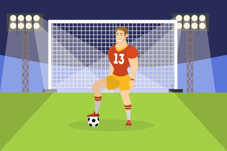 Soccer or football player standing with ball on the field in front of the gate. Athlete on the stadium. Championship league. Vector cartoon illustration
