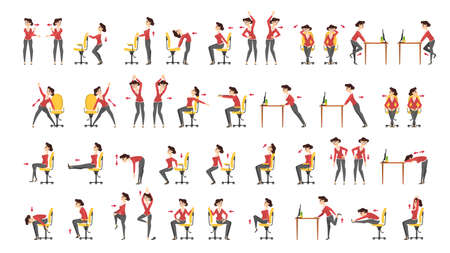 Set di esercizi per ufficio. Allenamento del corpo per l'ufficio