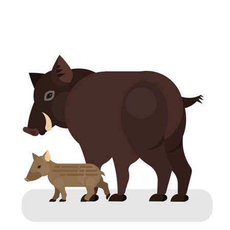 Boar character. Wild pig with dark brown fur. Wild animal standing. Isolated vector illustration in cartoon style