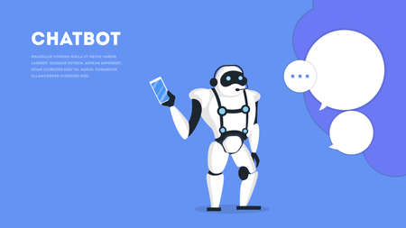 Communication with a chatbot concept. Customer service and support. Artificial intelligence concept. Isolated vector illustration in cartoon style