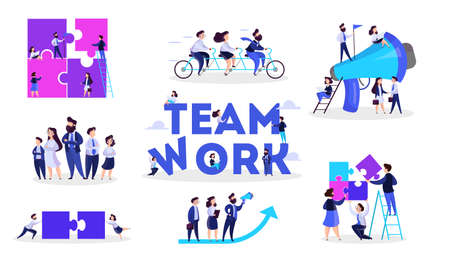 People work together in team banner set. Strategy and business planning. Workers support each other. Isolated vector illustration in cartoon style