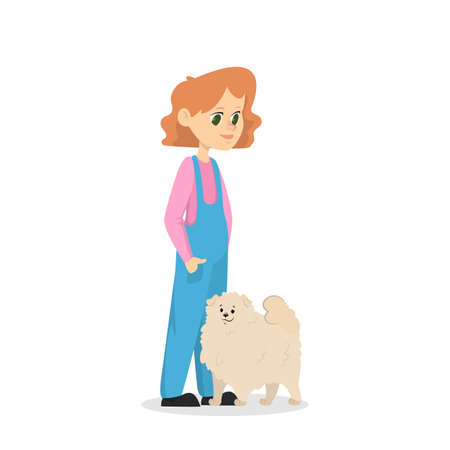 Child girl play with a dog. Happy kid and pet spend time together. Friendship between animal and children. Isolated vector illustration in cartoon style