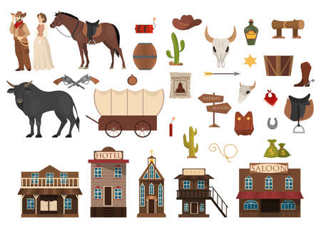 Wild west set. Cowboy, cactus, horse and cow. Saloon and sheriff building. Criminal wanted announcement. Collection of elements.