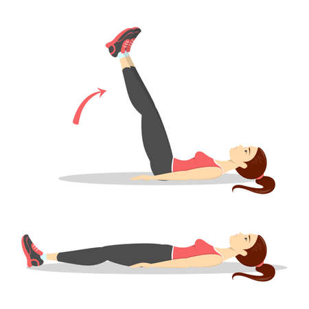 Woman doing crunches in the gym. Belly burn Ilustrace