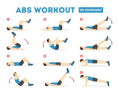 ABS workout for men. Exercise for perfect body Imagens - 117860770