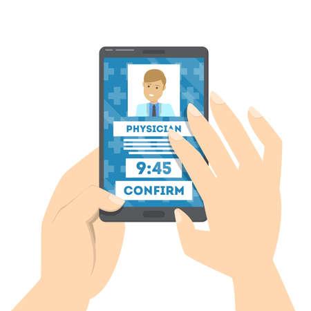 Elija médico y programe una cita en línea. Reserve visita utilizando un teléfono inteligente. Médico especialista en búsqueda de pacientes. Ilustración de vector aislado en estilo de dibujos animados