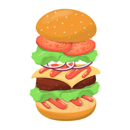 Burger ingredients. Bread and cheese, salad and tomato. Fast food in menu. Tasty meal. Vector illustration in cartoon style