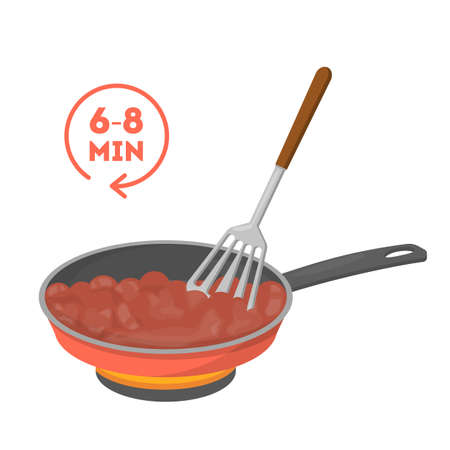 Cooking minced meat in a frying pan. Making delicious dinner. Tasty food preparing in skillet. Isolated vector illustration in cartoon style Ilustração