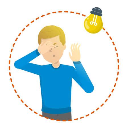 Homme avec photophobie. Migraine et sensibilité à la lumière. Problème de santé. Illustration vectorielle isolée en style cartoon Vecteurs