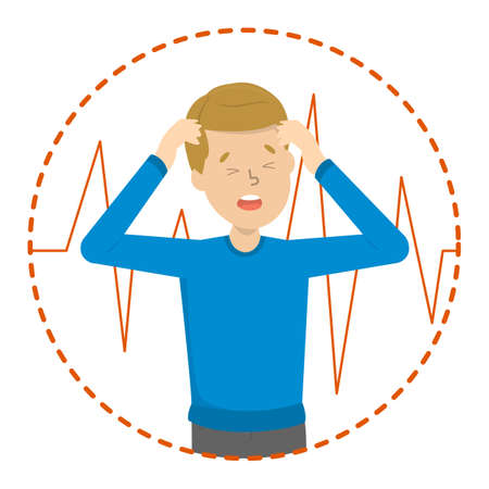 Man suffer from throbbing pain in head. Migraine symptom. Beat and pressure in the head. Isolated vector illustration in cartoon style Ilustração