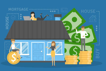 Mortgage concept. Idea of property loan and credit. Finance investment in real estate. Vector illustration in cartoon style