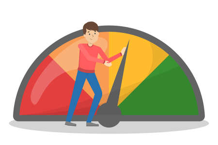 Credit score improvement concept. Man pushing arrow to make credit history better. Idea of loan and mortgage. Isolated vector illustration in cartoon style Ilustração