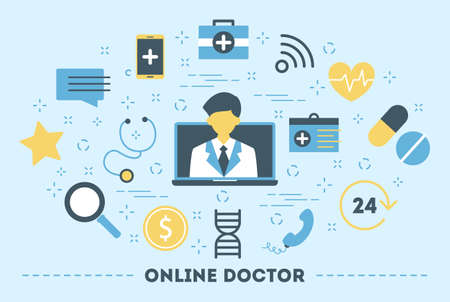 Online consultation with doctor. Remote medical treatment. Mobile service. Set of colorful icons. Isolated flat vector illustration