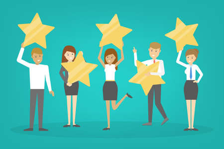 People holding big golden star as metaphor of rating. Customer satisfaction and quality evaluation. Success, excellence and achievement. Isolated vector illustration in cartoon style Illustration