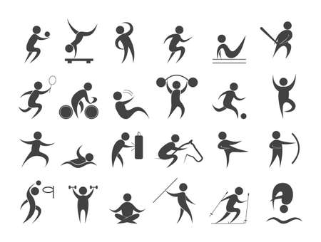 Sport people set. Collection of different sport activity icon. Basketball, football, volleyball and badminton. Isolated flat vector illustration
