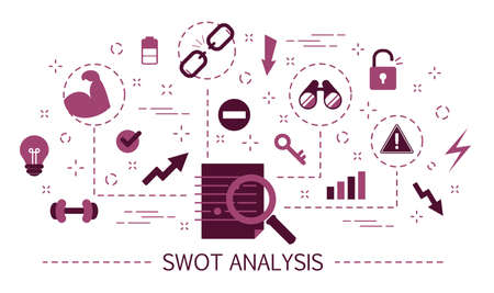 SWOT Analysis concept. Strengths, weaknesses, threats and opportunities of company. Business management and marketing. Set of colorful icons. Isolated flat vector illustration