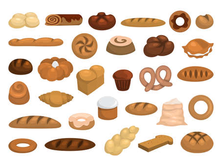 Bakery set. Collection of fresh bread, croissant, cake and baguette. Isolated vector illustration in cartoon style