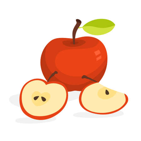 Red apple. Delicious fresh fruit. Healthy natural organic food. Isolated vector illustration in cartoon style