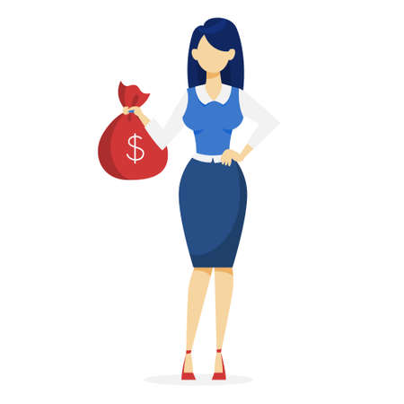 Businesswoman with money. Happy successfull woman standing with bag full of money. Financial well-being. Isolated vector illustration in cartoon style Ilustrace