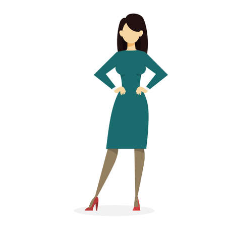 Businesswoman in suit standing. Office worker. Beautiful happy girl. Vector illustration in cartoon style Illustration