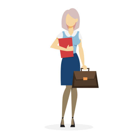 Businesswoman in suit standing with briefcase. Office worker. Beautiful happy girl. Vector illustration in cartoon style