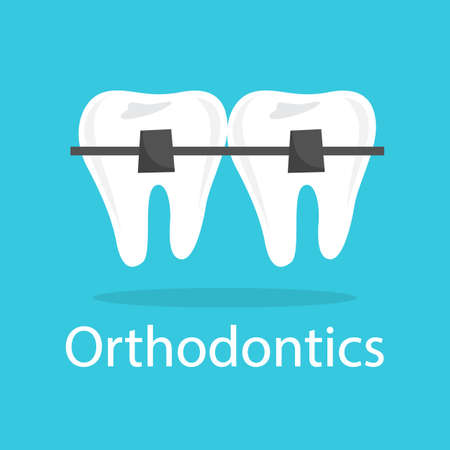 Tooth in braces. Idea of medical treatment and dental care. Healthy teeth. Isolated flat vector illustration