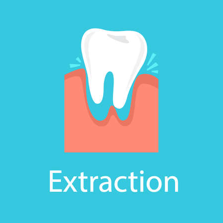 Tooth extraction concept. Dental care and medical treatment. Tooth remove from the jaw. Oral surgery. Isolated vector illustration in cartoon style