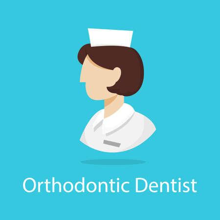 Orthodontist icon. Dentist profession. Dental treatment profession. Isolated vector illustration in cartoon style