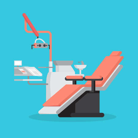 Dental chair and medical equipment for teeth treatment. Stomatology room. Dentist workplace. Isolated vector illustration in cartoon style Illustration