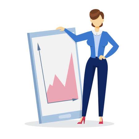Woman making business presentation. Presenting business plan on seminar. Vector illustration in cartoon style Illustration