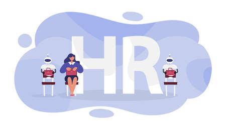 Human resources concept. Idea of recruitment. Searching for employee. Headhunter select worker. Vector illustration in cartoon style