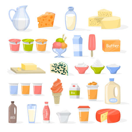 Set of dairy product. Cheese, yogurt, butter and milk. Farm food. Fresh healthy nutrition. Isolated vector illustration in cartoon style