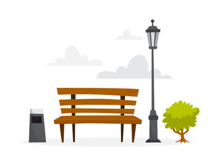 Park wooden bench. Element of public park summer scenery. Vector illustration in cartoon style